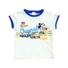Set tricou+pant Mickey bebe -Alb