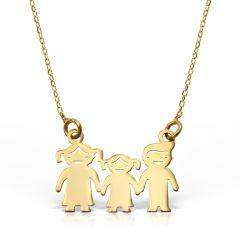 Colier My Family din Aur galben mama+baiat+tata