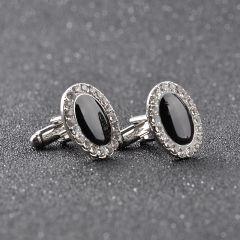Butoni camasa argintii cristal negru Black Opal