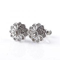 Butoni pentru camasa argintii, in forma de floare Edelweiss