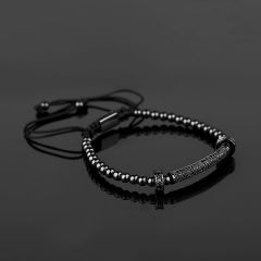 All Black Cubic Zirconia Men Bracelet