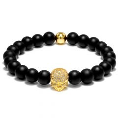 Brooks Gold Skull Natural Stone Piece