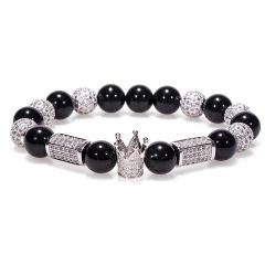 Bratara Brooks Silver Luxury Crown White Zircon Crystals