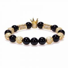 Bratara Brooks Gold Luxury Crown White Zircon Crystals
