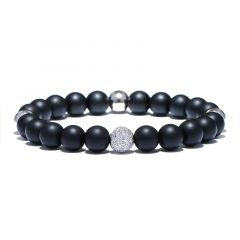 Bratara Brooks Luxury Black Agate SILVER