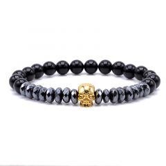 Gold Skull Agate Men Bracelet