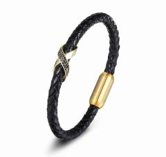 Brooks Black Leather Gold Zircon Charm