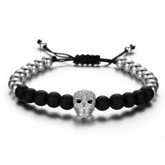 Brooks Skull Men Bracelet Zircon SILVER