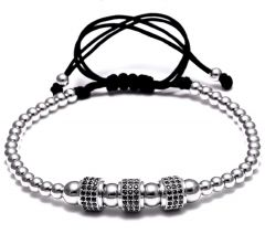 Brooks Silver Zircon Cilinder Bracelet