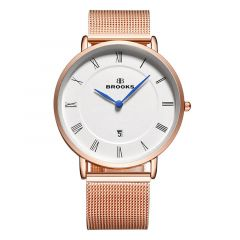 Ceas Brooks Rose Gold Just Date Mesh