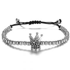 Crown Men Silver Bracelet