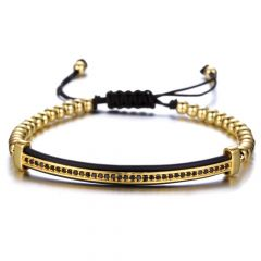 Brooks Gold 14K Zircon Men Bracelet