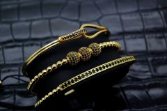 Luxury Set 3 Brooks Gold Woman Bracelets