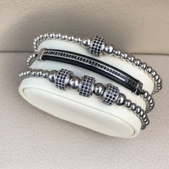 Brooks Set 3 Silver Zircon Bracelets