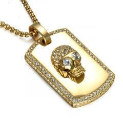 Pandantiv Gold Zircon Skull
