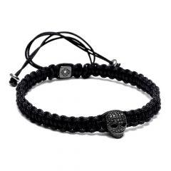 All Black Skull Macrame Bracelet