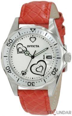 Ceas Invicta 12402 Pro Diver Silver Heart Dial Red Leather De Dama