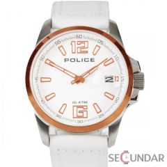 Ceas Police Lancer PL.12591JSSR-01 White Leather Strap Silver Dial and Gold IP Case Barbatesc