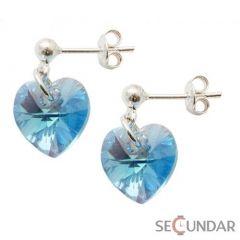 Cercei Argint 925 cu SWAROVSKI ELEMENTS Heart 10 mm surub Aquamarine AB