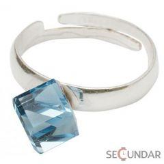 Inel Argint 925 cu SWAROVSKI ELEMENTS Cubic 6mm Aquamarine