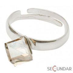 Inel Argint 925 cu SWAROVSKI ELEMENTS Cubic 6mm Golden Shadow