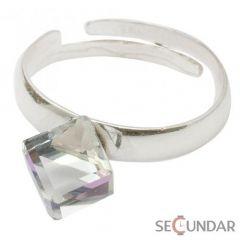 Inel Argint 925 cu SWAROVSKI ELEMENTS Cubic 6mm Vitrail Light