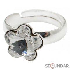 Inel Argint 925 cu SWAROVSKI ELEMENTS Flower 10mm Crystal Clear