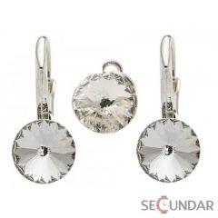 Set Argint 925 cu SWAROVSKI ELEMENTS Rivoli 6-8 mm Crystal Clear