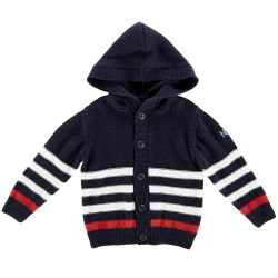 Cardigan tricotat cu gluga, copii Chicco, baieti, bleumarin cu alb si rosu, 96588