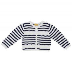Cardigan copii Chicco, tricotat, alb cu dungi bleumarin, 96623