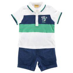 Costum tricou polo + pantalon scurt copii Chicco, baieti, alb cu albastru, 76222
