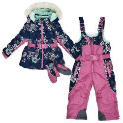 Costum zapada Chicco Flurry, jacheta si pantaloni matlasati, bleumarin cu model, 76169
