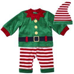 Costumas copii Chicco, pentru Craciun, tricou, pantaloni si scufie, verde, 77415