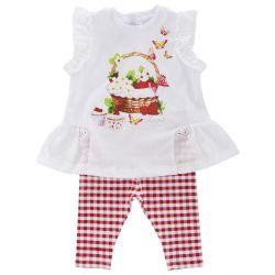 Costumas doua piese copii Chicco, tricou si colanti, fetite, alb cu rosu, 77740