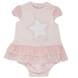 Costumas doua piese copii Chicco, rochita maneca scurta si chilot, fetite, roz, 50758