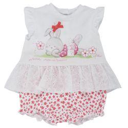 Costumas doua piese copii Chicco, tricou cu maneca scurta si pantaloni scurti, alb cu corai, 77756