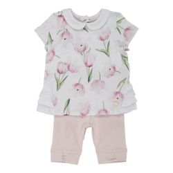 Costumas doua piese copii Chicco : tricou maneca scurta si colant trei-sferturi, fetite, alb cu roz, 77697