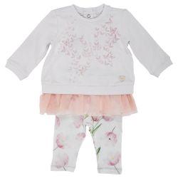 Costumas pentru copii Chicco, tricou maneca lunga si colant, fetite, alb cu roz, 77696