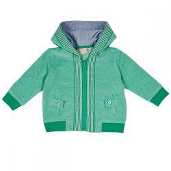 Hanorac cu gluga copii Chicco, verde cu alb, 96561