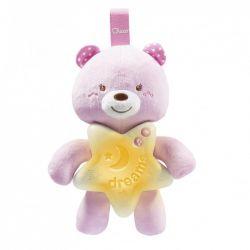 Jucarie Chicco pentru patut Ursuletul noapte buna, roz, 0luni+
