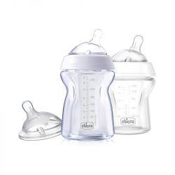 Pachet economic Chicco 2xbiberoane sticla si tetina, 0luni+, 0%BPA