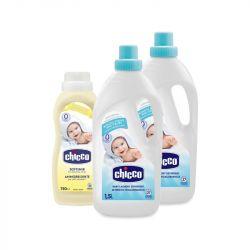 Pachet economic Chicco detergent 1.5L (2buc) si balsam de rufe 750ml, 0luni+