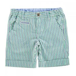 Pantalon scurt copii Chicco, alb cu dungi bleumarin si verzi, 52688