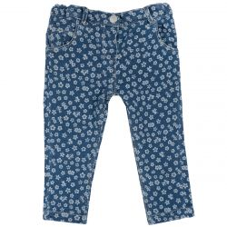 Pantalon lung copii, bleumarin cu model, 92