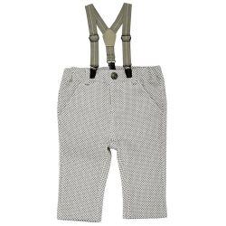 Pantaloni lungi cu bretele, copii Chicco, baieti, alb cu gri, 24742