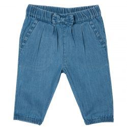 Pantalon lung copii, denim turcoaz, 104