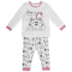 Pijama copii Chicco, maneca lunga, fetite, alb cu roz, 31207
