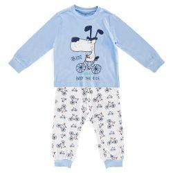 Pijama copii Chicco, maneca lunga, turcoaz, 35352