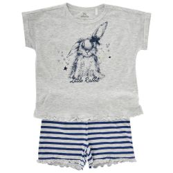 Pijama copii Chicco, maneca scurta, gri deschis, 35352