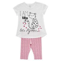 Pijama maneca scurta copii Chicco, fetite, alb cu roz, 31206